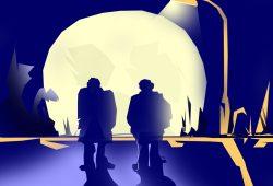 Oleg und Oleg und der Mond. Grafik: L-IZ