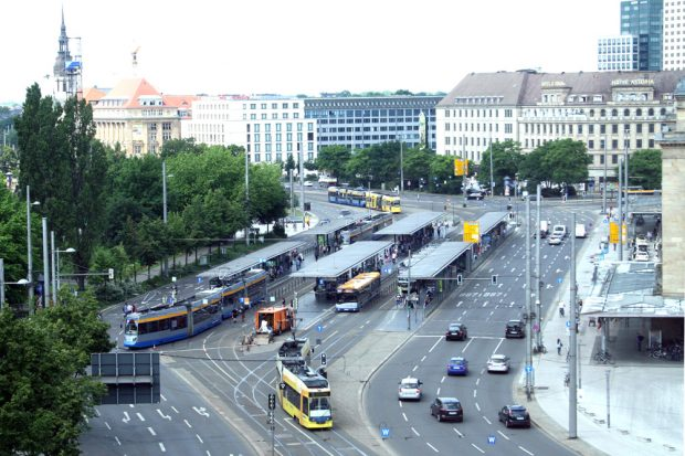 Das Straßenbahn-Nadelöhr Hauptbahnhof. Foto: Ralf Julke