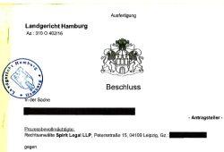 Ein erstes deutsches Urteil aus Hamburg, was Konsequenzen für das gesamte Netz haben könnte. Screenshot des PDFs von der Seite Spirit Legal