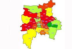 Die Schuldnerquote in Leipzig nach Ortsteilen 2016. Karte: Creditreform SchuldnerAtlas