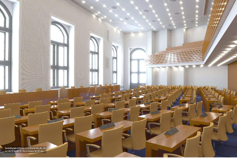 Animation von Variante II für den neuen Sitzungssaal. Foto: Stadt Leipzig