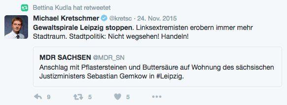 """Ein quasi """"live"""" abgesetzter Twitterfeed von Michael Kretschmer (CDU). Bettina Kudla fands wichtig. Screen Twitter"""