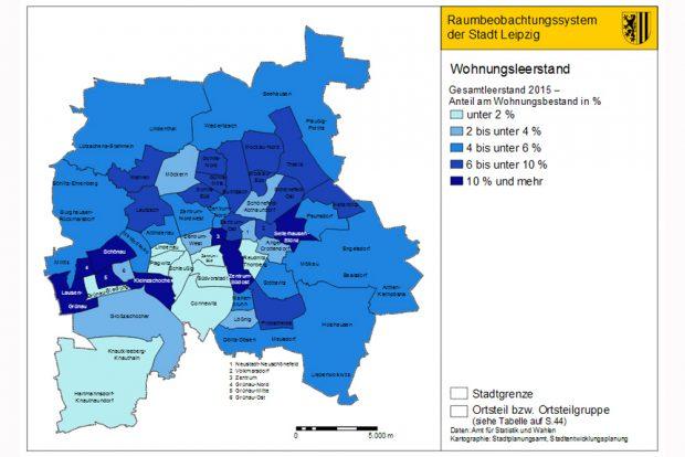 Geschätzter Leerstand in Leipzig. Karte: Stadt Leipzig, Quartalsbericht III/2016