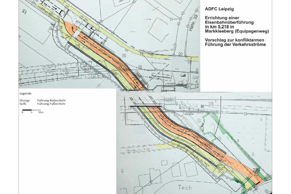 Der Vorschlag des ADFC zur Wegführung im Tunnel. Grafik: ADFC Leipzig