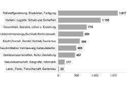 Die angebotenen Stellen nach Branchen im Januar. Grafik: Arbeitsagentur Leipzig