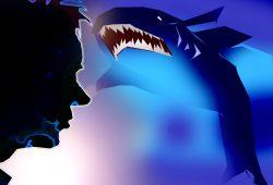 Herr L. und ein gewisser Haifisch, zwei Vertreter aus dem Bestiarium. Grafik: L_IZ