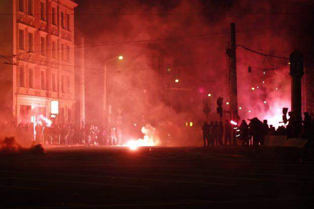 Die Straßen in Rauchschwaden gehüllt. Foto: Alexander Böhm