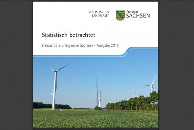 """Broschüre """"Erneuerbare Energien in Sachsen – Ausgabe 2016"""", Cover: Freistaat Sachsen, Statistisches Landesamt"""