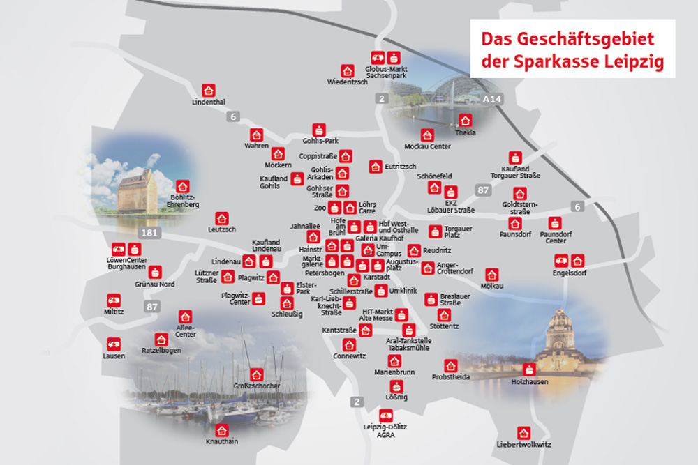 Das Leipziger Filialnetz ab 2018. Grafik: Sparkasse Leipzig