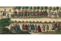 Evangelisch-lutherische Glaubensflüchtlinge aus dem Salzburger Land auf der Durchreise in Leipzig, Kupferstich 1732, Stadtgeschichtliches Museum