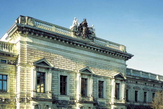 """Hochschule für Musik und Theater """"Felix Mendelssohn Bartholdy"""", Portal Grassistraße 8. Foto: HMT"""