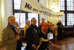 Protest gegen den geplanten Kiesabbau am 18. Januar im Rathaus. Foto: Fraktion Bündnis 90 / Die Grünen