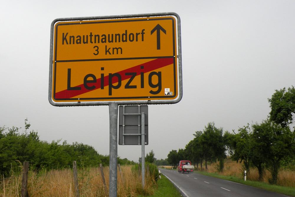 Leipziger Ortsausgangsschild. Foto: Marko Hofmann