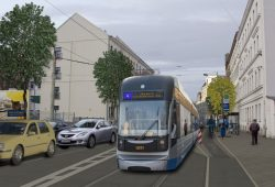 Künftige LVB-Haltestelle Kolmstraße in der Holzhäuser Straße. Visualisierung: LVB