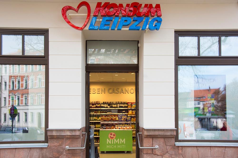 Der Konsum Leipzig setzt seit einiger Zeit stärker auf Bio, Vegan und neue Filialen. Hier die 2016 eröffnete in der Stötteritzer Schönbachstraße. Foto: Konsum Leipzig
