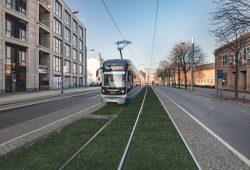 So soll der neue Abschnitt mit Rasengleis in der Prager Straße aussehen. Visualisierung: LVB