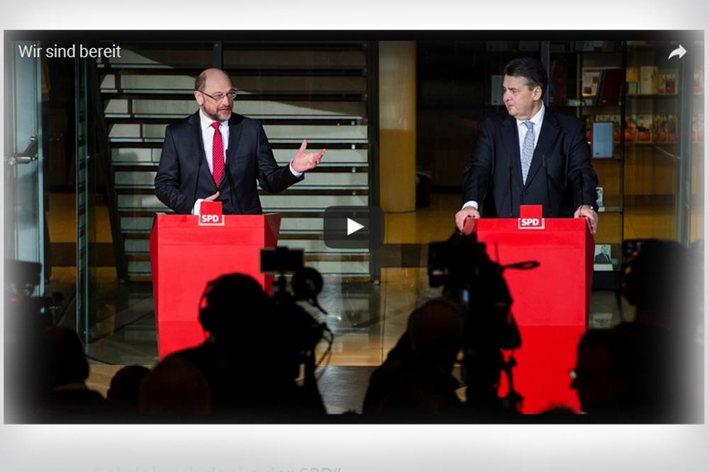 Martin Schulz und Sigmar Gabriel im Videoclip der SPD. Screenshot: L-IZ