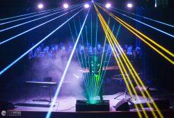 TIME COMPOSERS Laserharfe während des Konzertes in Markkleeberg. Foto: Bernhard Weiß