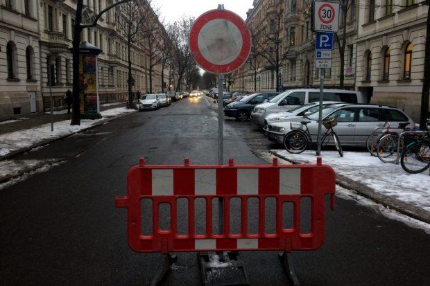 An der Tschaikowskistraße ist ebenfalls gesperrt. Foto: L-IZ.de