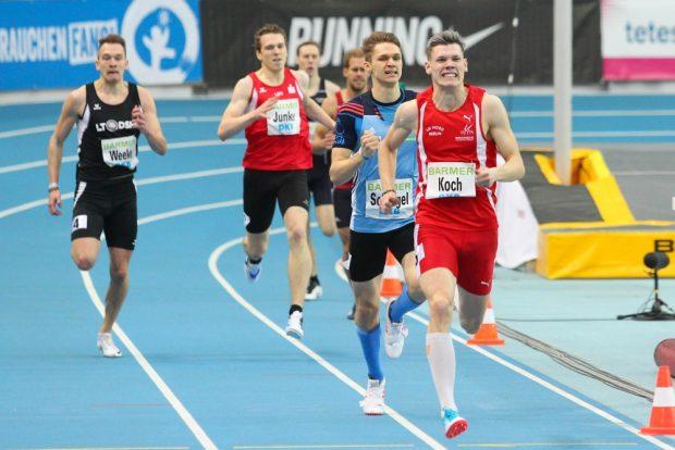 Marvin Schlegel (Chemnitz/ 2.v.r.) kam über 400m hinter Marc Koch (Berlin) auf dem Silberplatz ein und qualifiziert sich für die Hallen-EM. Foto: Jan Kaefer