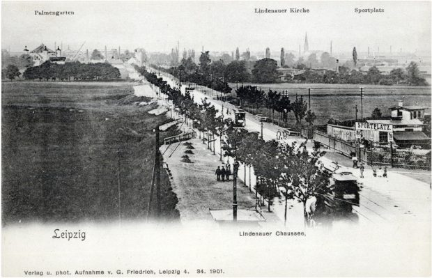 Die Lindenauer Chausee 1901 mit Blick gen Westen. Foto: Pro Leipzig Verlag