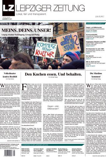 Das Titelblatt der LEIPZIGER ZEITUNG Ausgabe 40 im Februar 2017. Screen LZ