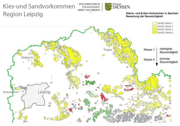 Kies- und Sandlagerstätten in der Region Leipzig. Karte: Freistaat Sachsen, SMWA