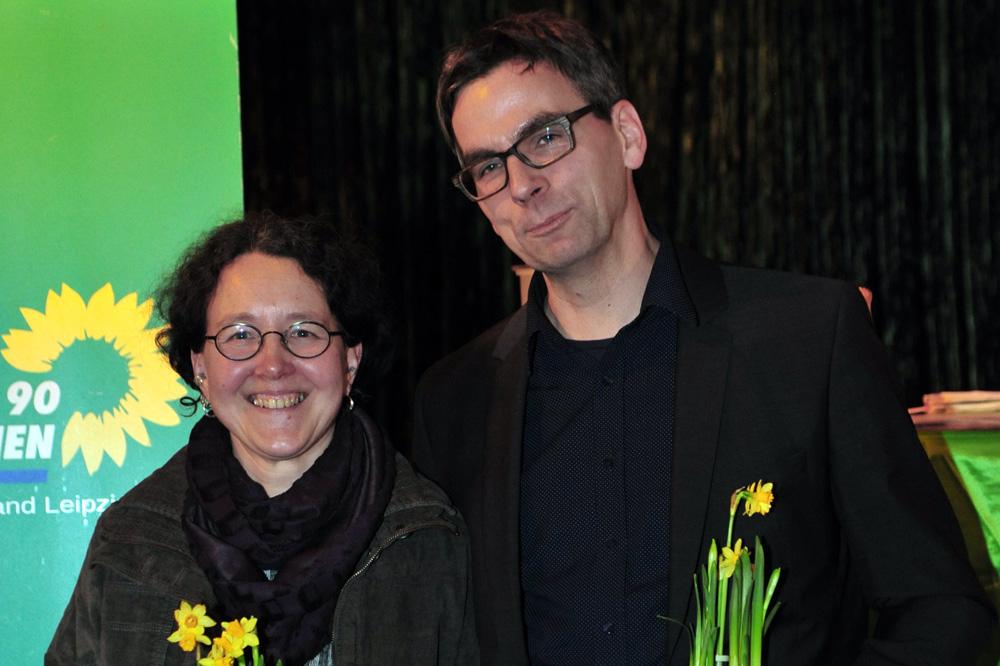 Direktkandidaten Monika Lazar und Volker Holzendorf. Foto: Bündnis 90/Die Grünen Leipzig