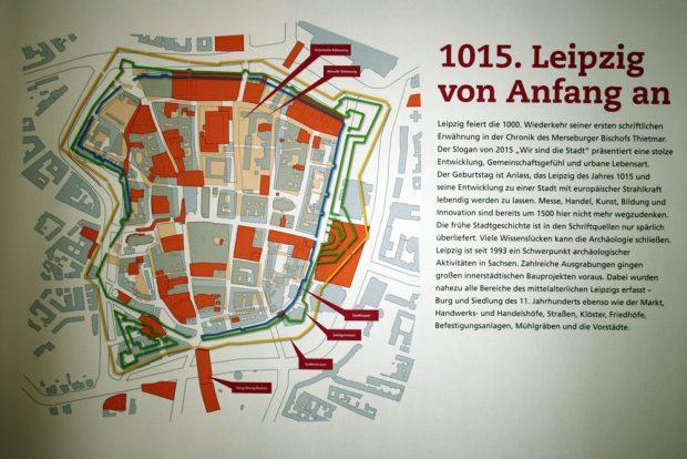 """Karte des mittelalterlichen Leipzig aus der Ausstellung """"Leipzig von Anfang an"""" im Stadtgeschichtlichen Museum. Archivfoto: Ralf Julke"""