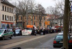 """Polizeibegleitung für die """"Westwerk retten""""-Demo am 11. Februar 2017. Foto: L-IZ.de"""