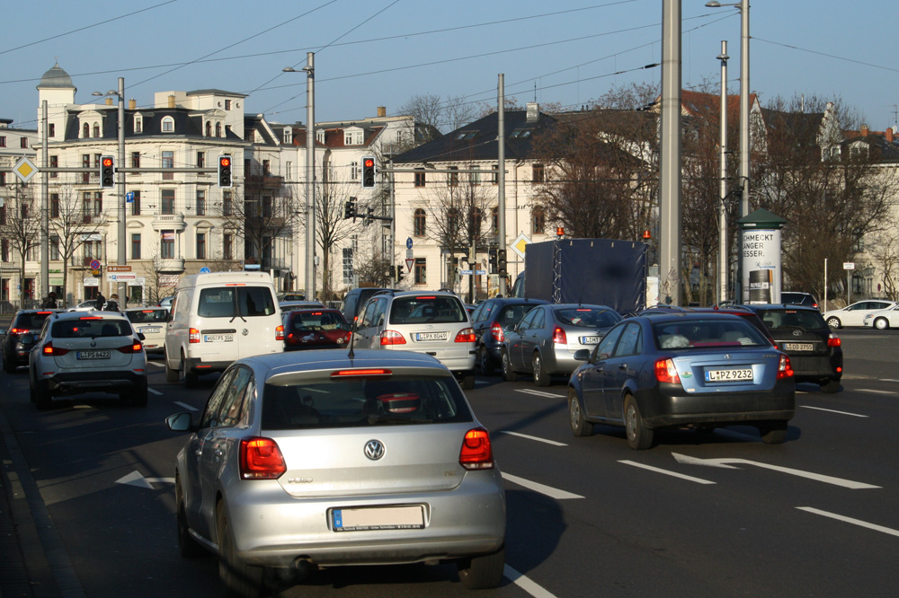 Verkehrssituation am Goerdelerring. Foto: Ralf Julke