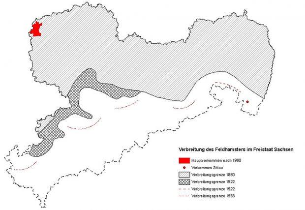 Das Verbreitungsgebiet des Feldhamsters in Sachsen. Karte. Freistaat Sachsen, SMUL