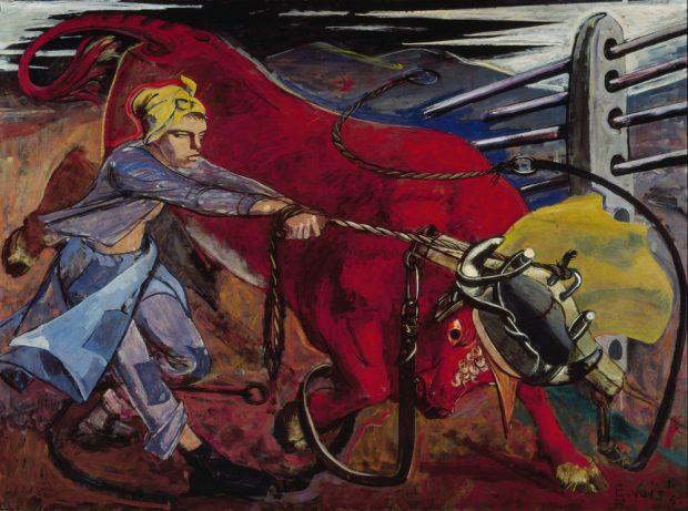 Elisabeth Voigt: Der rote Stier, Öl auf Leinwand. Copyright: Museum der bildenden Künste