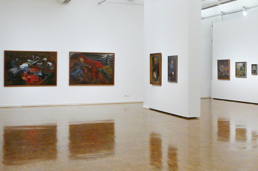 """Blick in die Ausstellung """"Elisabeth Voigt. Im Strudel der Zeit"""". Foto: Sparkasse Leipzig"""