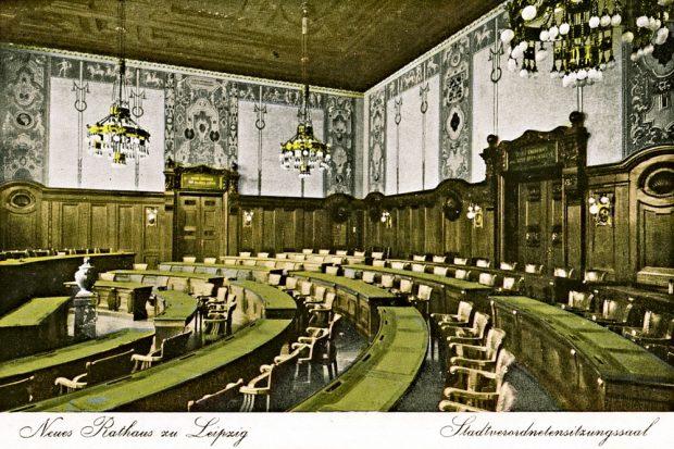 Der Ratssaal im Neuen Rathaus um 1920. Bild: Pro Leipzig Verlag