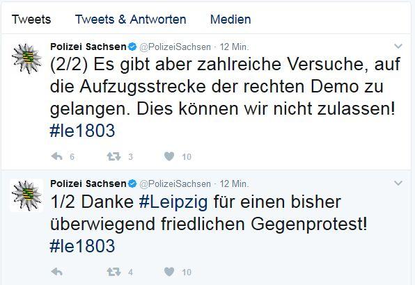 Die Polizei Sachsen (@PolizeiSachsen) auf Twitter. Screen Twitter