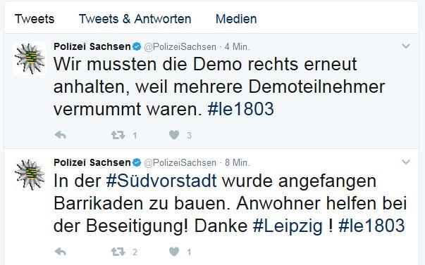 Stopp für die Rechten, in der Südvorstadt werden Barrikaden abgebautPolizei Sachsen (@PolizeiSachsen) bei Twitter