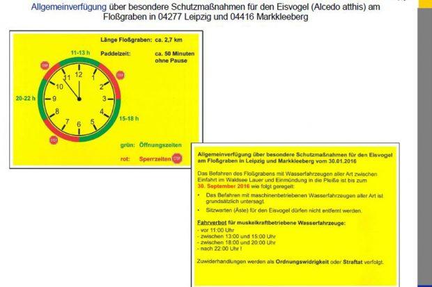 Die Allgemeinverfügung in Kurzform, wie sie die Stadt auch an den Schleusen aushängen wird. Quelle: Stadt Leipzig, Amt für Umweltschutz