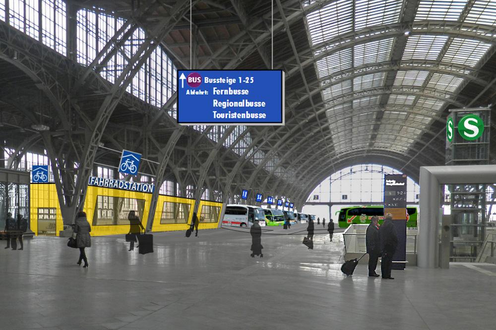 So stellte sich der Ökolöwe 2014 eine Fahrradstation im Hauptbahnhof vor. Grafik: Ökolöwe