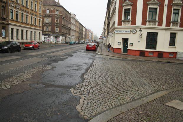 Blick in die äußere Georg-Schwarz-Straße. Foto: Ralf Julke