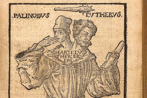 Holzschnitt: Luther als Doppelkopf. Foto: Universitätsbibliothek Leipzig