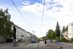 Die künftige Haltetelle Baaderstraße in der Virchowstraße. Visualisierung: LVB