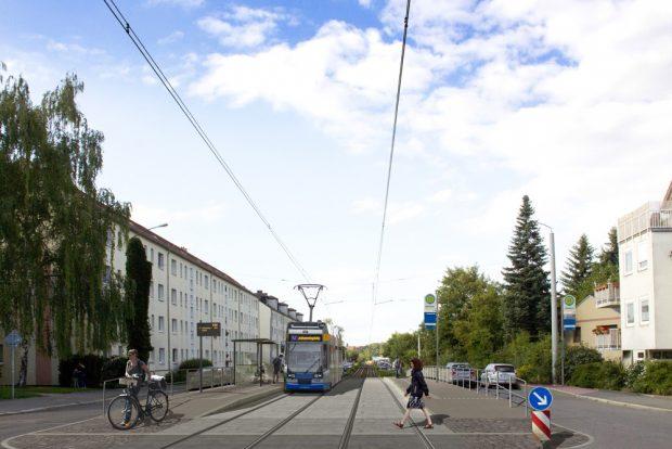 Die künftige Haltestelle Baaderstraße in der Virchowstraße. Visualisierung: LVB