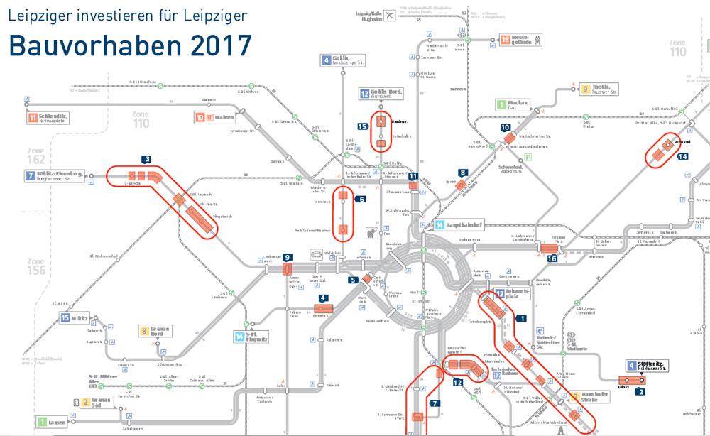 baustellen leipzig karte Leipziger InterZeitung: LVB Baustellen 2017 mit den Baustellen