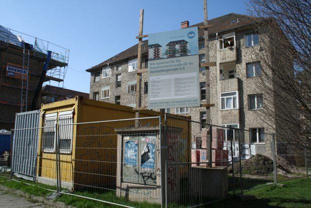 Sanierungsmaßnahme der LWB in der Brandvorwerkstraße / Hardenbergstraße. Foto: Ralf Julke