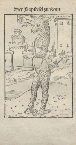 """""""Papstesel und Mönchskalb"""" - Diese Darstellung von Lukas Cranach d. Ä. gehört zu den bekanntesten Bildern aus der Reformationszeit. Foto: Universitätsbibliothek Leipzig"""