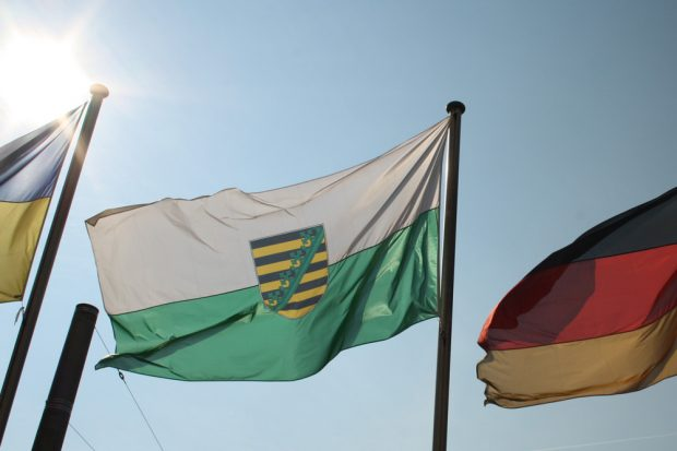 Sachsen-Fahne im Sonnenschein. Foto: Ralf Julke
