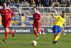 Wie schon beim 1:1 im Hinspiel (Foto), traf Daniel Becker als einziger Leipziger. Foto: Jan Kaefer (Archiv)