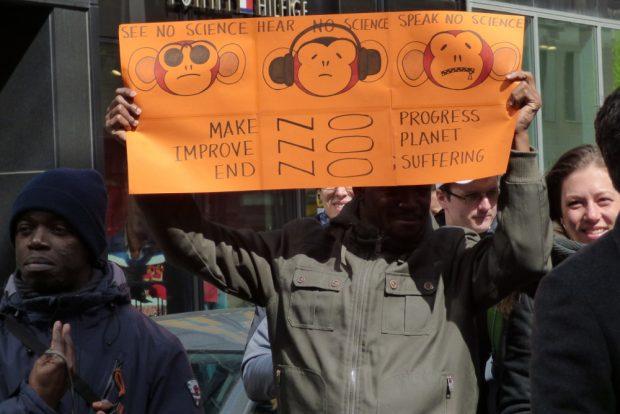 Teilnehmer einer Demonstration für Fakten und Wissenschaft. Foto: Lucas Böhme
