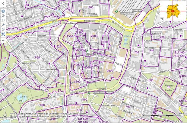 Ausschnitt aus der Leipziger Bodenrichtwertkarte. Screenshot: L-IZ
